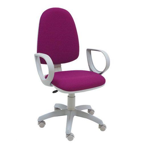 Silla-escritorio-Torino-Gris-polipiel-fucsia