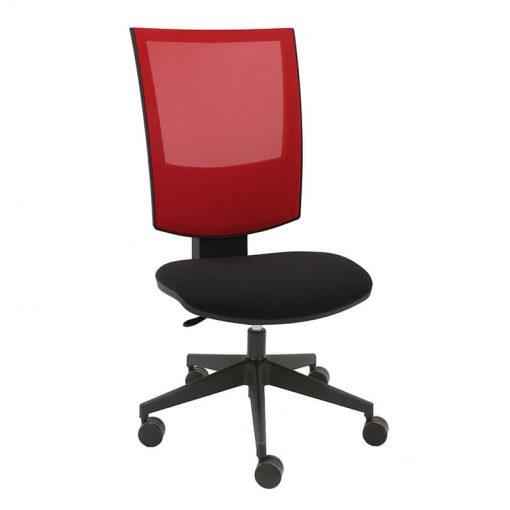 silla-giratoria-flesh-mecanismo-syncro-malla-roja-tapizado-asiento-negro-sin-brazos