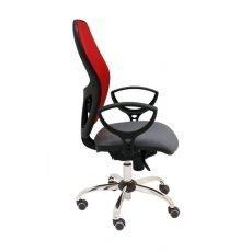 silla-giratoria-modelo-Q3-con-respaldo-malla-roja-y-asiento-tapizado-gris-base-cromada-La-Silla-de-Claudia