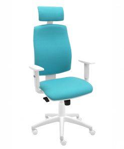 silla-giratoria-oficina-blanca-ergonomica-modelo-Job-con-cabezal-y-brazos-blancos-regulables