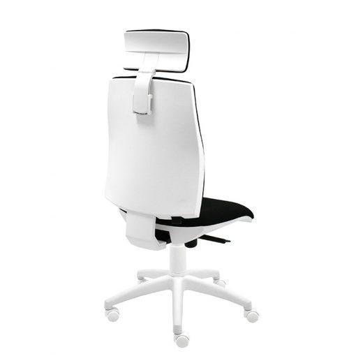 silla-giratoria-oficina-blanca-ergonomica-modelo-Job-con-cabezal-y-brazos-blancos-regulables-bali-negro