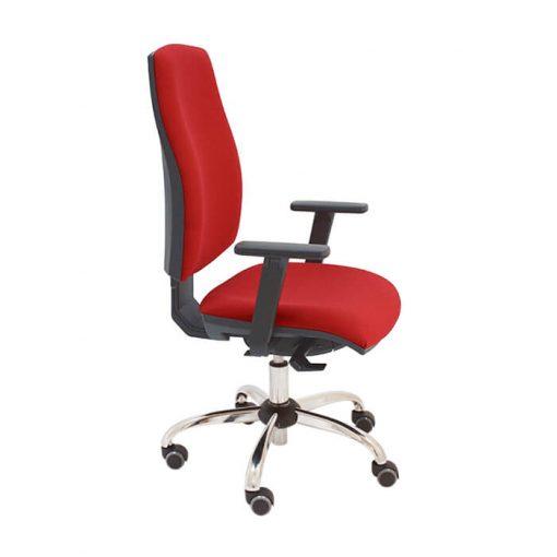silla-giratoria-oficina-job-negra-tapizado-rojo-brazos-regulables