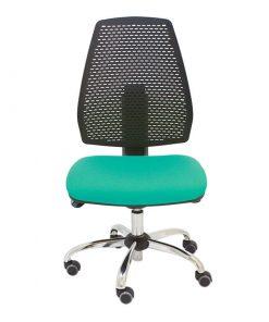 silla-giratoria-hexa-negra-asiento-turquesa-base-cromada-sistema-syncro