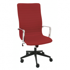 sillon-de-direccion-line-piel-rojo-giratorio-base-negra