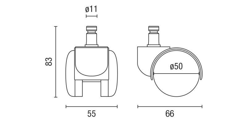Juego de ruedas de goma para silla de oficina giratoria 11/50 mm | LSC