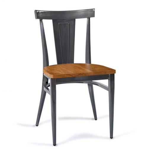 DAKOTA-silla-acero-gris-envejecido-asiento-madera-macizo