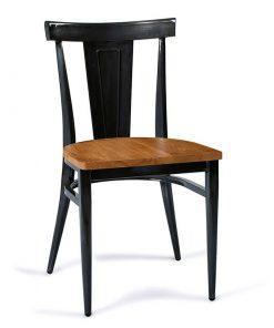 DAKOTA-silla-acero-negro-envejecido-asiento-madera-macizo
