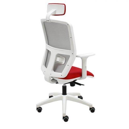silla-giratoria-keempat-blanco-malla-gris-asiento-rojo-con-brazos-con-cabezal