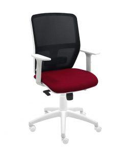 silla-giratoria-keempat-blanco-malla-negra-asiento-burdeos-con-brazos-1
