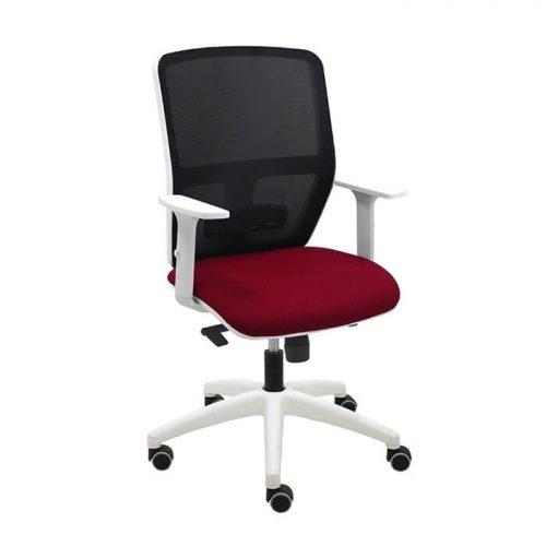 silla-giratoria-keempat-blanco-malla-negra-asiento-burdeos-con-brazos