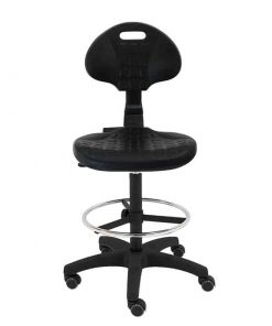 taburete-giratorio-trabajo-Work-para-laboratorios,-talleres,-ruedas-de-goma-negro-frente