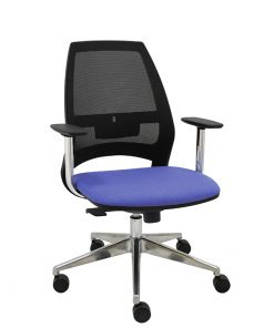 silla-giratoria-oficina-4U-malla-negra-asiento-azul