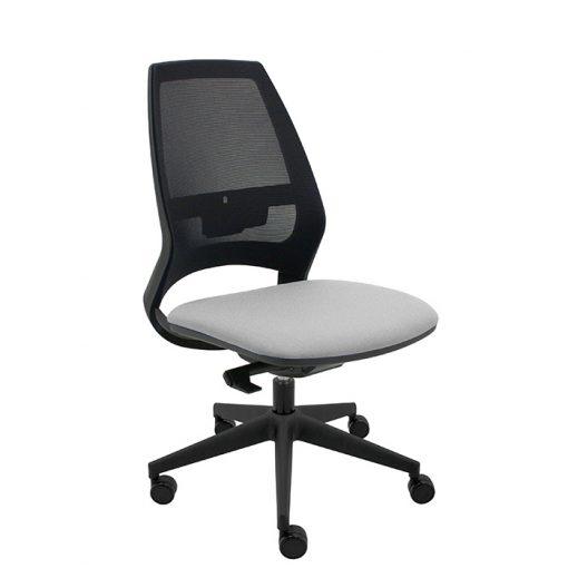 silla-giratoria-oficina-4U-malla-negra-asiento-gris