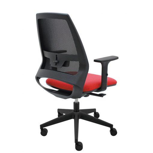silla-giratoria-oficina-4U-malla-negra-asiento-rojo
