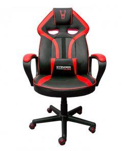 silla-gamer-roja-negra-frontal